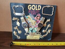 Gold Jewelry Mix Toy Mini Gumball Vending Machine Prize Display Card Poster