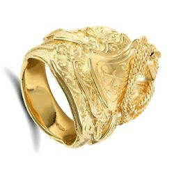 Heavy Gold Saddle Ring Men's Solid 9k Yellow Gold 25g Hallmarked British Made