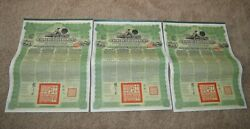 3 Chinese Government Reorganization Gold Loan Of 1913 Bond Green Coupon China