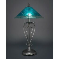 Toltec Lighting Olde Iron Table Lamp 16and039 Teal Crystal Glass - 42-bn-715