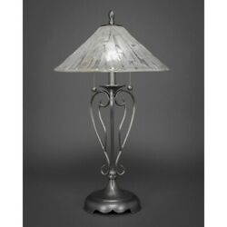 Toltec Lighting Olde Iron Table Lamp 16and039 Chocolate Icing Glass - 42-bn-718