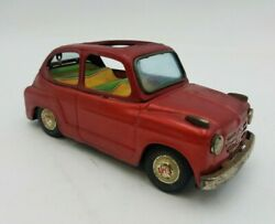 Vintage Fiat 600 Toy Tin Car Metal Rare Collectible Red Convertible Top Missing