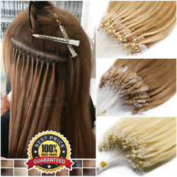 Thick Micro Ring Loop Beads 100 Human Remy Hair Extensions Nano 200pcs Straight