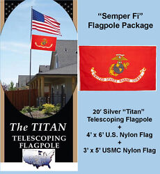 20and039 Silver Titan Telescoping Flagpole With 4and039 X 6and039 U.s. + 3and039 X 5and039 Usmc Flags