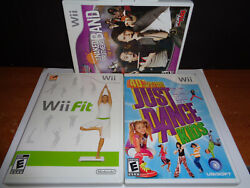 Lot 3 Nintendo Wii Games Wii Fit, Just Dance Kids, And The Naked Brothers Band