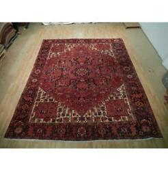 10x13 Authentic Hand Knotted Semi-antique Wool Rug Red B-73156