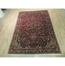 7x10 Authentic Hand Knotted Semi-antique Wool Rug Red B-73880