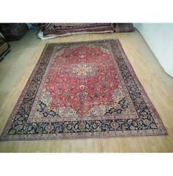10x13 Hand Knotted Semi-antique Najafabad Wool Rug Red B-73068