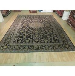 10x13 Hand Knotted Semi-antique Najafabad Wool Rug Black B-73820