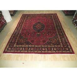 10x13 Authentic Hand Knotted Semi-antique Wool Rug Red B-73801