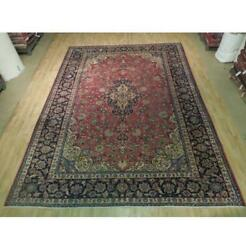 9x13 Authentic Hand Knotted Semi-antique Wool Rug Red B-74417