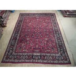 9x13 Hand Knotted Semi-antique Mahal Rug Wool Red B-74462