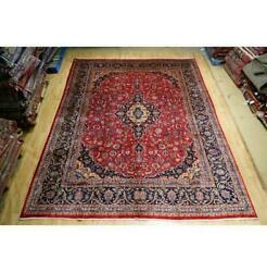 10x13 Authentic Hand Knotted Semi-antique Wool Rug Red B-74561