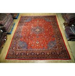10x13 Authentic Hand Knotted Semi-antique Wool Rug Red B-74641