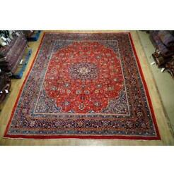 10x13 Authentic Hand Knotted Semi-antique Lite Blue Rug Red B-74628