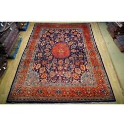 9x13 Authentic Hand Knotted Wool Rug Blue B-74747