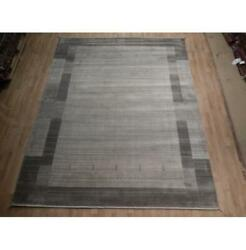 8x10 Simple And Rich Gray Loom Knotted Viscose Wool Blend Modern Rug B-74541