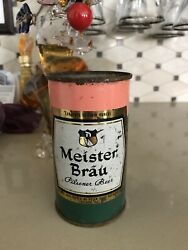 1956 Meister Brau Peach Green Flat Top Beer Can Brewed In Chicago Il Top Opened