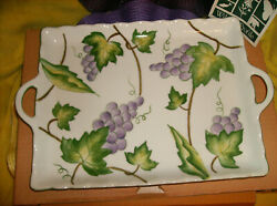 New Andrea By Sadek Wild Grapes Serving Tray Porcelain 13-1/2 X 9 New In Box
