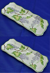 New Andrea By Sadek Wild Grapes Porcelain Set Of 2 Cracker Tray Olive New In Box