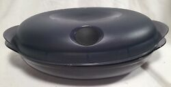 Tupperware Heat N Serve Oval Microwave Container 4 3/4 Cup Smoky Gray 5409