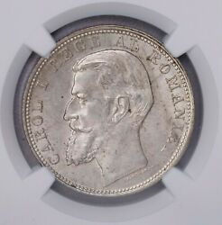 Ngc-ms63 1900 Romania 2lei Silver Only Two Finer Key Date Bu Luster