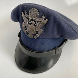 Vintage Morry Luxenberg Military Outfitter Badge 6 7/8 Blue Black Wool Cap Hat