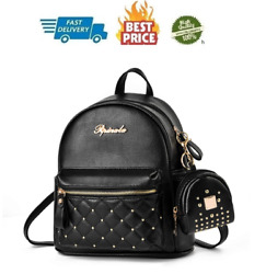 Cute Small Backpack Mini Purse Casual Daypacks Leather for Teen and Women Black $34.48