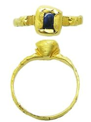 13th-14th Century Medieval Gold And Sapphire Finger Ring Inscribed Band Size 8 3/4