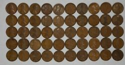1914 Lincoln Wheat Cent Penny 1c Good - Fine G - F Full Roll 50 Coins