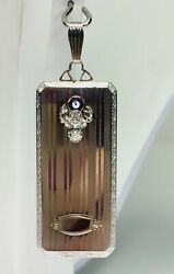 Vintage 14kt White Gold And Diamond Card Holder Pendant And Protective Order Of Elks