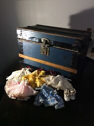 Huge Vintage Lot Of Clothes With Wooden Case Cass Toys