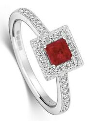 Square Ruby And Diamond Engagement Ring 18k White Gold Certificate Size J-q