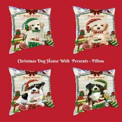 Christmas Dog Cat With Presents Pet Throw Decorative Pillow 18x18 In Gift