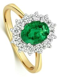 Emerald And Diamond Ring 18k Yellow Gold Cluster Engagement Certificate 2.40ctw