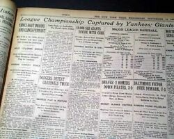 New York Yankees Win Al Pennant And Phar Lap Mounted Taxidermy 1932 Nyc Newspaper