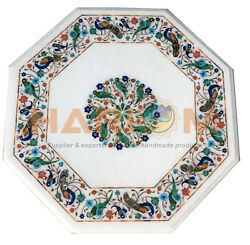 20 Marble Top Coffee Table Malachite Lapis Parrot And Peacock Inlay Decors W015