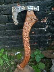 Custom Hand Forged Tomahawk Axe Etching Axe With Handle Carving Gift For Men