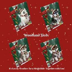 Christmas Woodland Sled Dog Cat Pet Lovers Tempered Glass Cutting Board Large