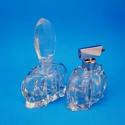 Collectible Moser Art Glass Perfume Bottles Vintage 1950s Set Of 2, 1 Atomizer
