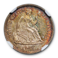 1862 Seated Half Dime H10c Ngc Ms 66 Uncirculated Civil War Date Attractively...