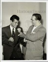 1956 Press Photo Boxer Art Aragon with Sam Ben Ami on quot;You Bet Your Lifequot; Show