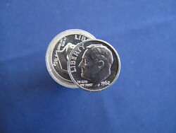 1962 Roosevelt Silver Dime Proof Roll Of 50 Coins E5748