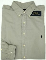 Polo Long Sleeve Classic Fit Oxford Shirt Mens Gray Nwt 98 New