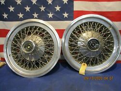 Used Pair 1977-79 Ford Thunderbird Wire Spoked Hub Caps D7sz1130f