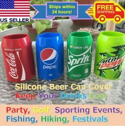 Beer Can Covers Silicone Sleeve Hide A Beer Coca-colapepsispritemtn Dew 12oz