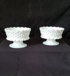 Two Vintage Westmoreland White Milk Glass Hobnail Candle Stick Holders
