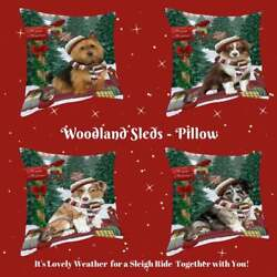 Christmas Woodland Sled Dog Cat Pet Lovers Throw Decorative Pillow 18x18 In