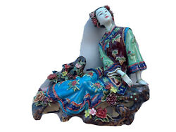 Fine Chinese Porcelain Woman Asian Figurine Statue Vintage Antique Signed