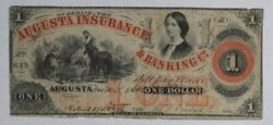 1861 Augusta Insurance And Banking Co 1 Obsolete Currency Note Ga 1550-05 02a2